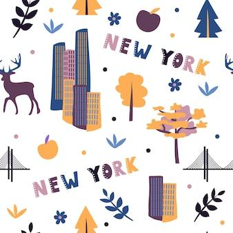 Usaコレクション。ニューヨークのテーマのベクトルイラスト。状態記号-シームレスパターン