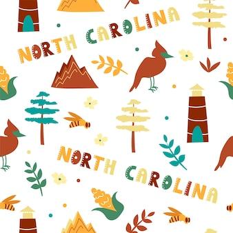 Usaコレクション。ノースカロライナのテーマのベクトルイラスト。状態記号-シームレスパターン