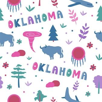 Usaコレクション。オクラホマのテーマのベクトルイラスト。状態記号-シームレスパターン