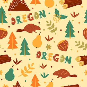 Usaコレクション。オレゴンのテーマのベクトルイラスト。状態記号-シームレスパターン