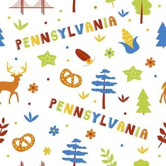 Usaコレクション。ペンシルベニアのテーマのベクトルイラスト。状態記号-シームレスパターン