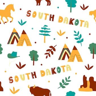 Usaコレクション。サウスダコタ州のテーマのベクトルイラスト。状態記号