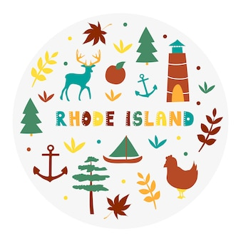 Usa collection. vector illustration of rhode island theme. state symbols - round shape