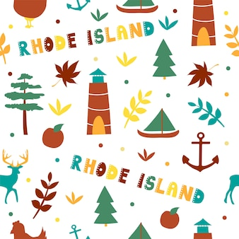 Usa collection. vector illustration of rhode island theme. state symbols - seamless pattern