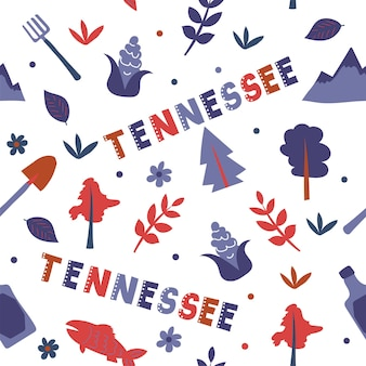 Usa collection. vector illustration of tennessee theme. state symbols - seamless pattern