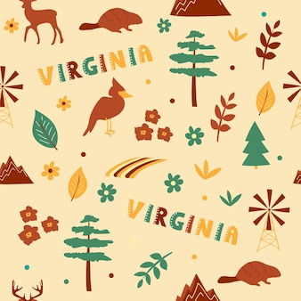 Usa collection. vector illustration of virginia theme. state symbols - seamless pattern