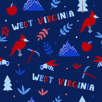 Usa collection. vector illustration of west virginia theme. state symbols - seamless pattern