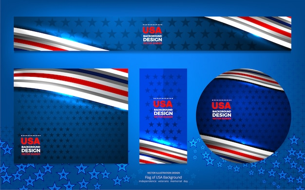Usa color flag concept banner background for independence