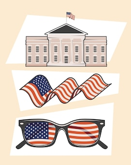 Usa country set three clipart