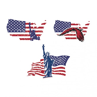 Usa country shape with united states of america flag and statue of liberty