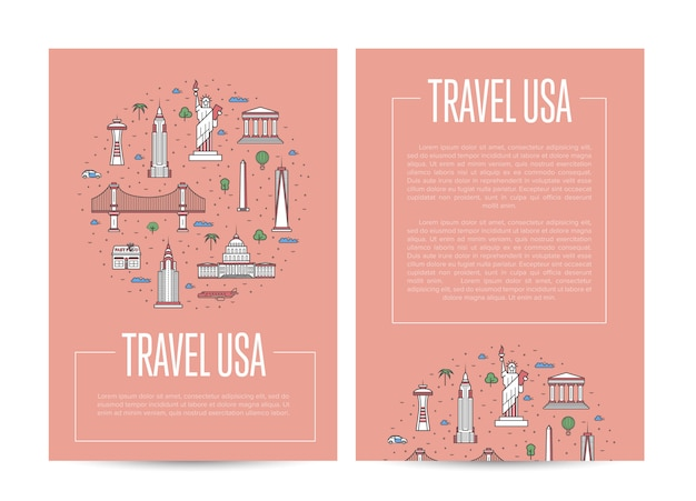 Usa country traveling advertising in linear style