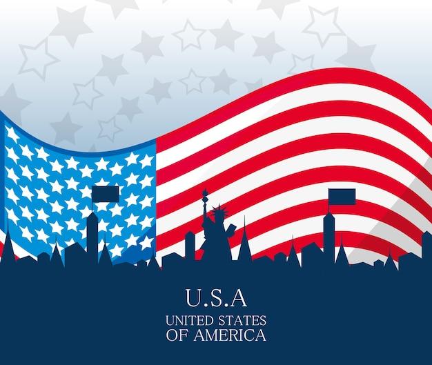 アメリカの国旗を持つアメリカの国