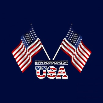 Usa day with usa waving flag
