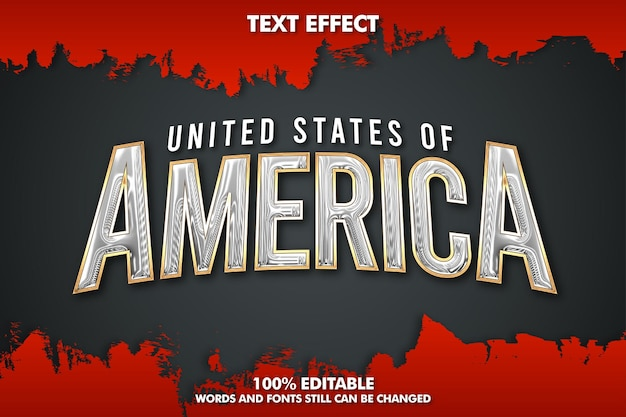 Usa editable text effect realistic chrome text effect with golden ouline and grunge