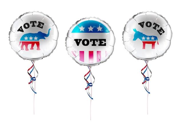 미국 선거 동기 풍선 및 로고.