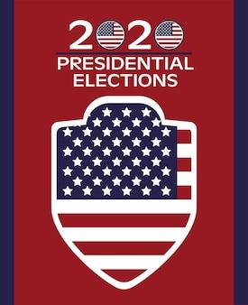 盾とレタリングの旗が付いている米国の選挙日のポスター