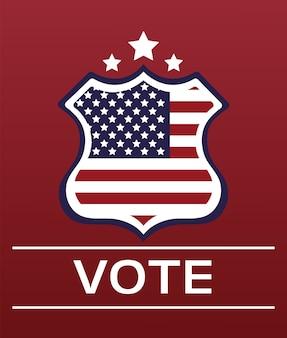 盾の旗が付いている米国の選挙日のポスター