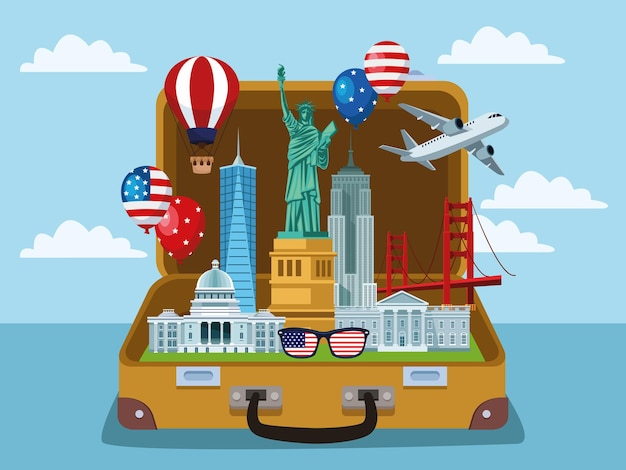 Usa elements in suitcase