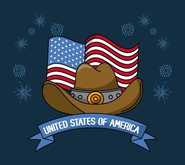 Usa emblem cowboy hat with flag vector illustration graphic design