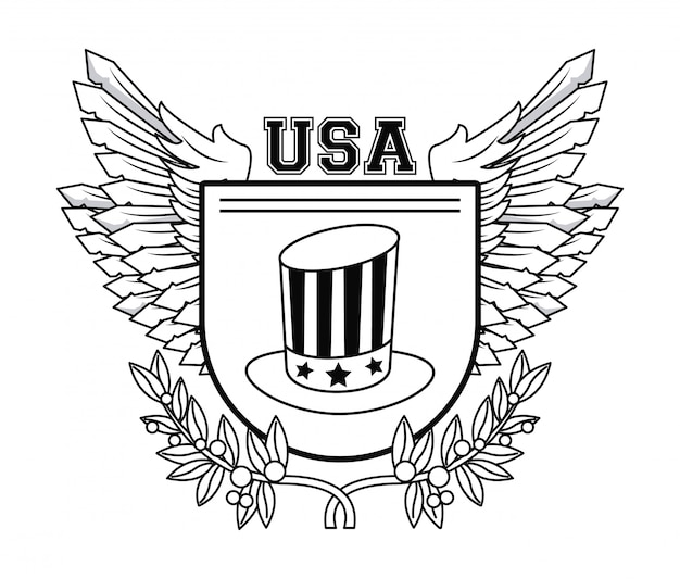 Usa emblem uncle sam hat on badge with wings vector illustration graphic design