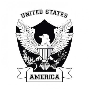 Usa emblem with eagle and badge ribbon banner vector illustration graphic design