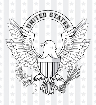 Usa emblem with eagle and badge ribbon banner vector illustration graphic design