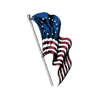 Usa first flag illustration in engraved style. vector design of independence day.