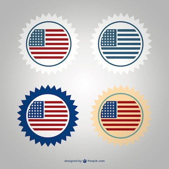 Usa flag badge set