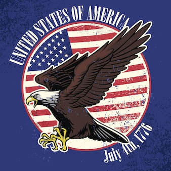 Usa flag and eagle with dirty texture