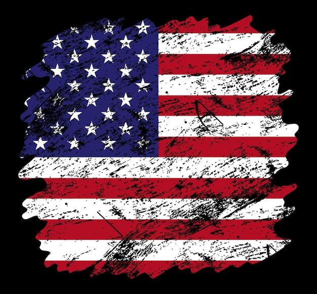Фон кисти гранж флаг сша. старый флаг кисти векторные иллюстрации. абстрактное понятие национального фона.