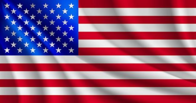 アメリカ国旗イラストアメリカ合衆国波状旗
