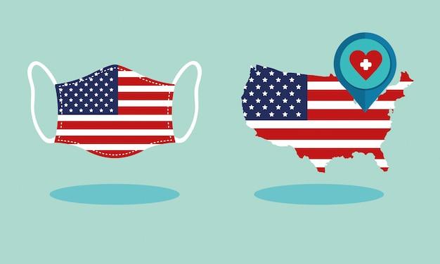 지도 및 얼굴 마스크에 미국 국기