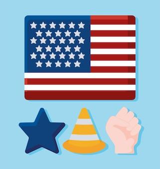 Usa flag and items