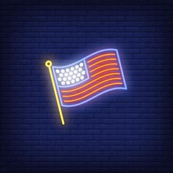 USA flag on brick background. Neon style illustration. USA symbol, country, America.