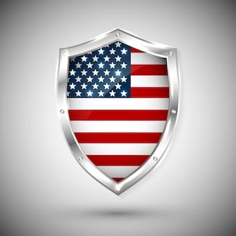 반짝이 금속 방패에 미국 국기입니다. 흰색 배경에 대해 방패에 플래그의 컬렉션입니다. 추상 고립 된 개체입니다.