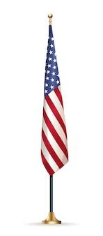 Флаг сша на стенде, изолированном на белом. флаг соединенных штатов америки на флагштоке.