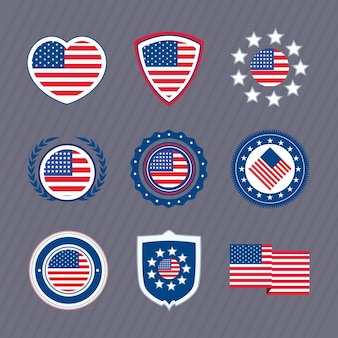 Usa flag set nine icons