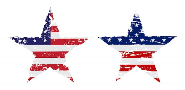 グランジスタイルのアメリカ国旗スター