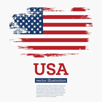 브러시 획으로 미국 국기입니다. 벡터 일러스트 레이 션.