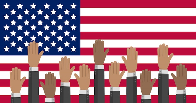 Usa flag with hands in different colors reaching up. the us presidential election illustration.