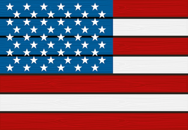 Usa flag wooden texture background