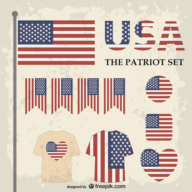 Usa flags graphic elements set