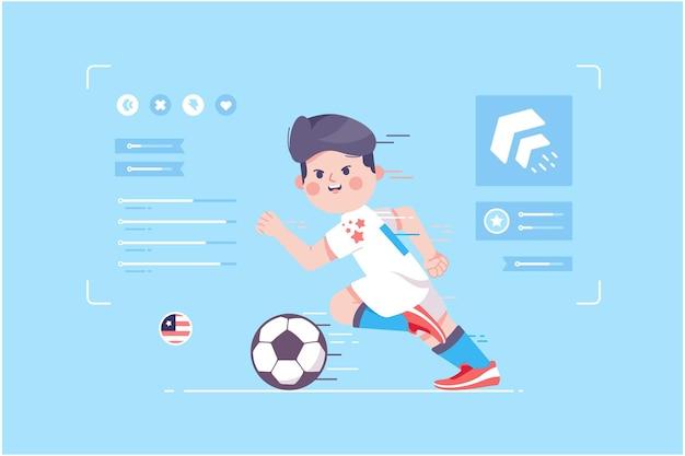 アメリカのサッカー選手のかわいいキャラクターデザイン