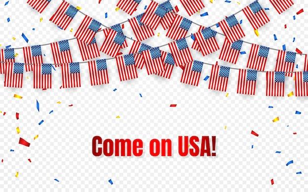 透明な背景に紙吹雪とアメリカの花輪の旗、お祝いテンプレートバナーのアメリカハングホオジロ、