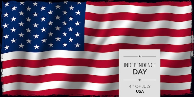 Usa happy independence day  banner . united states of american national holiday 4th of july design  with flag