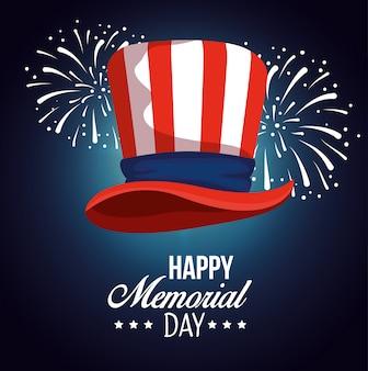 Usa hat flag with fireworks celebration