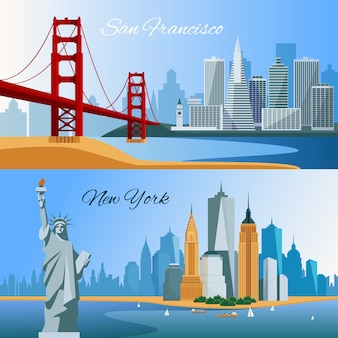Usa horizontal flat banners with san francisco and new yourk cityscapes