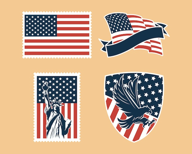Usa independence badge set