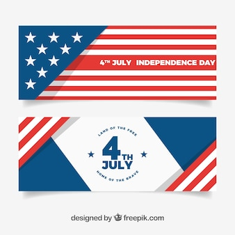 Баннеры независимости сша с плоским дизайном