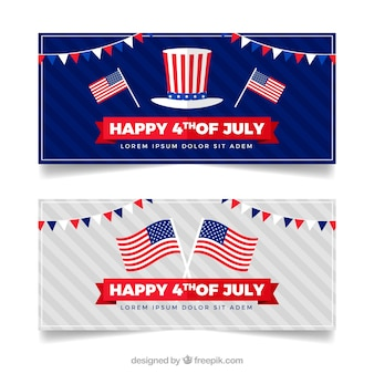 Usa independence banners with flat design